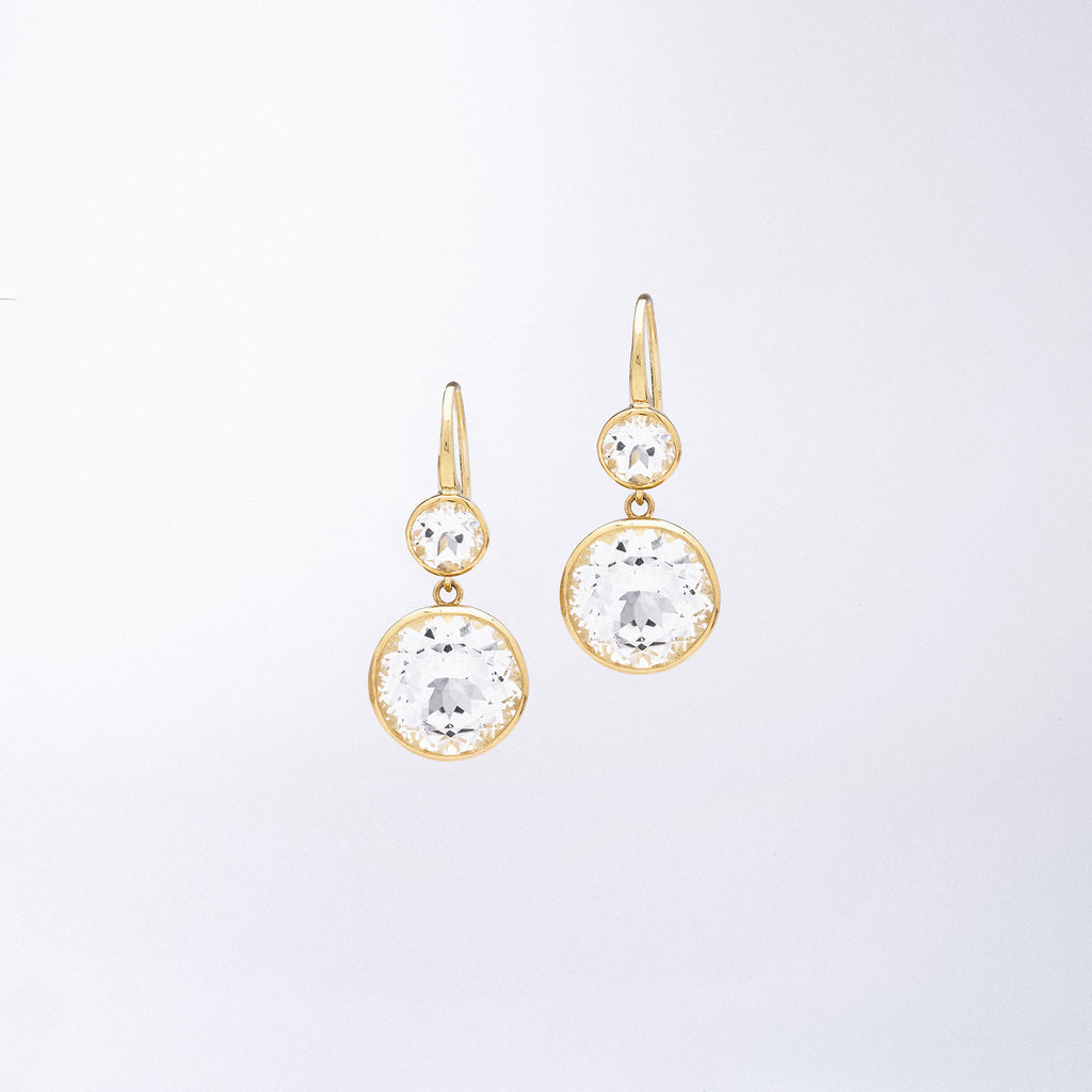 Crown Work Drop Earrings with White Quartz