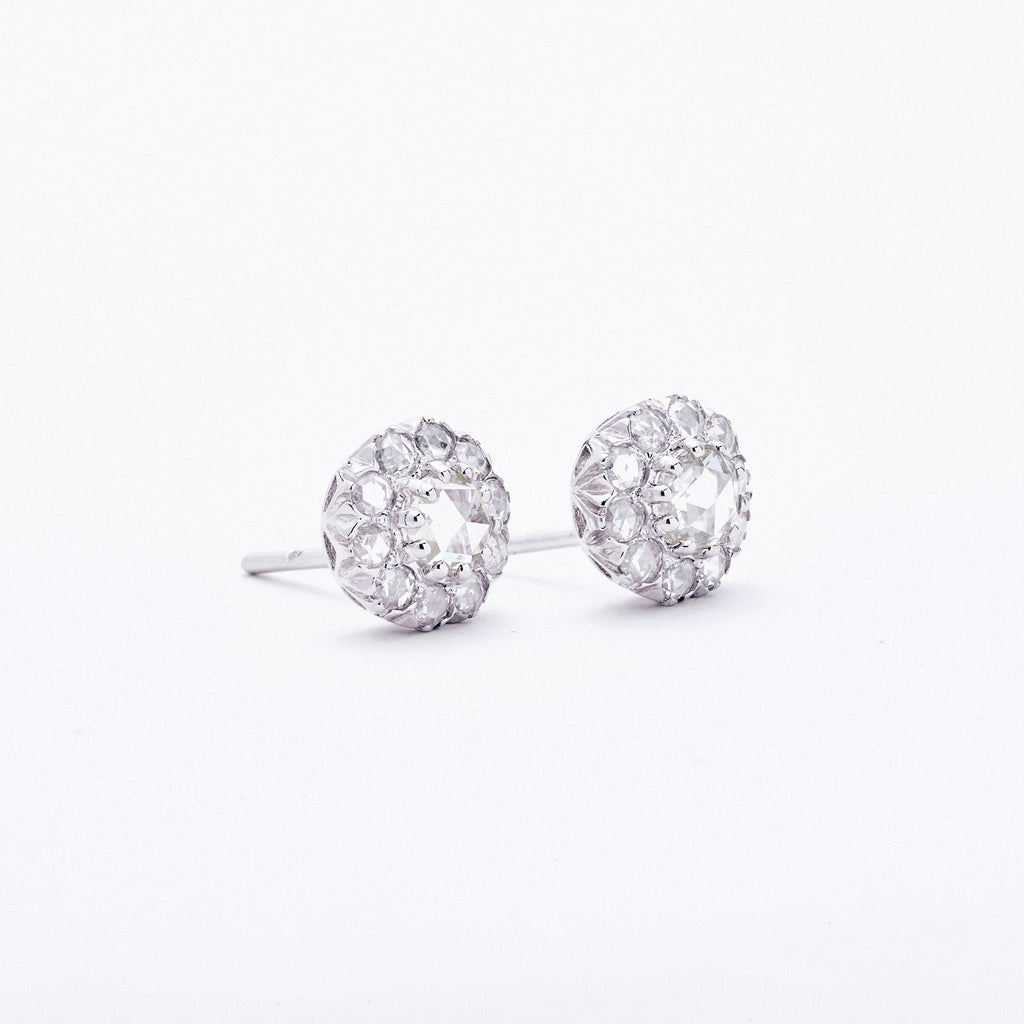 Rose Cut Diamond Post Earrings
