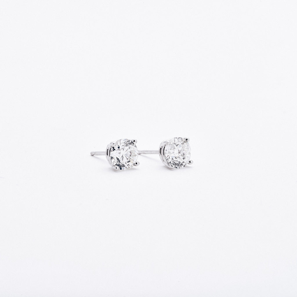 White Gold Diamond Four Prong Earrings