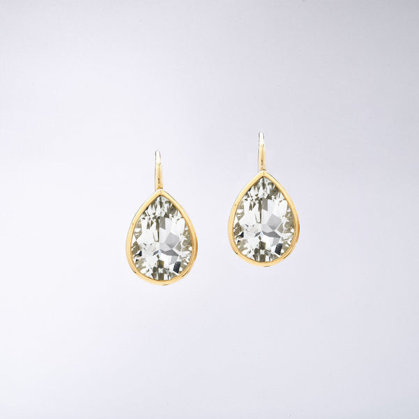 Pear Shaped Green Amethyst Earrings