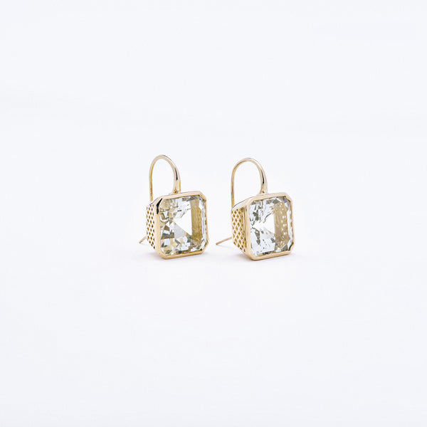 Crown Work Green Amethyst Earrings