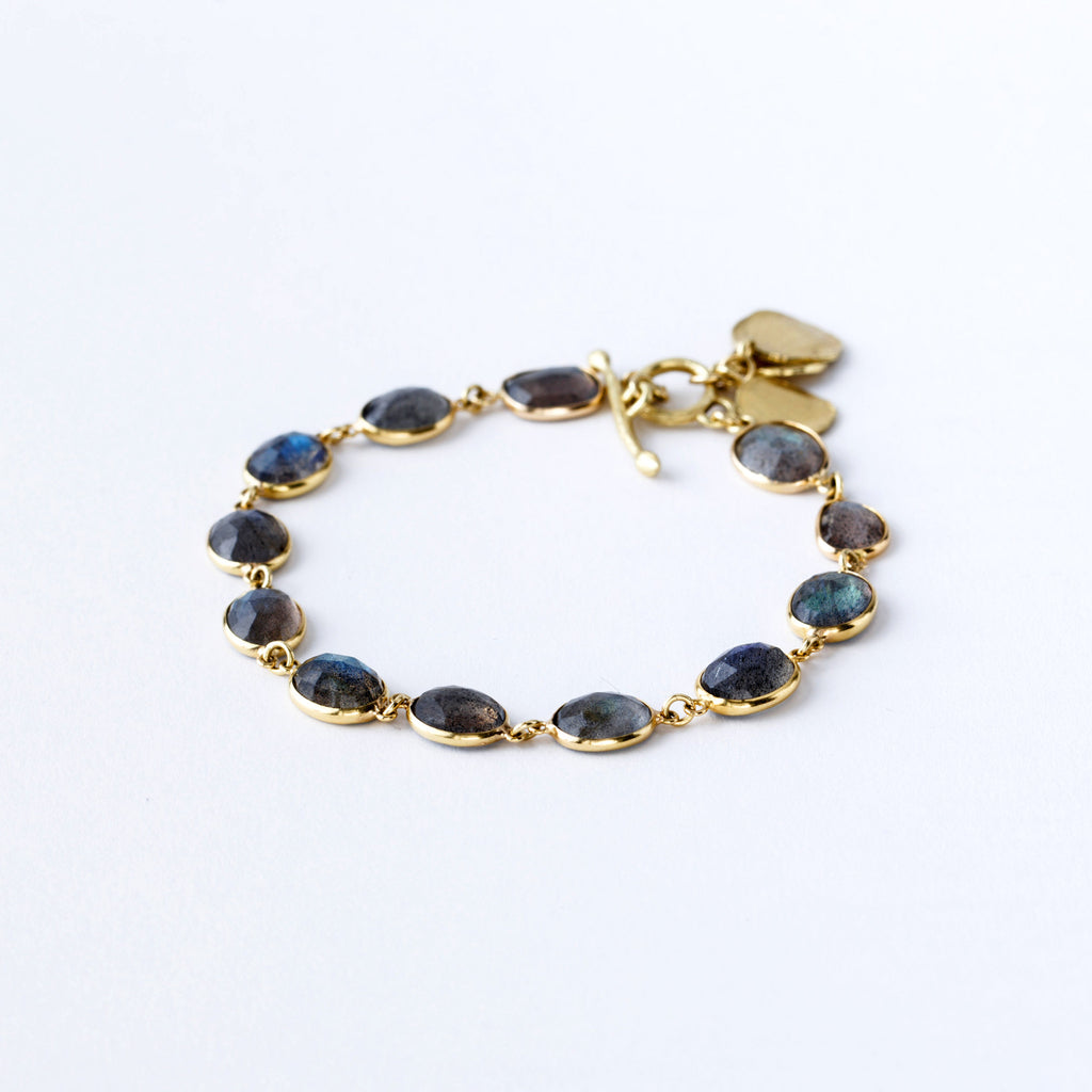 Labradorite and Yellow Gold Bracelet