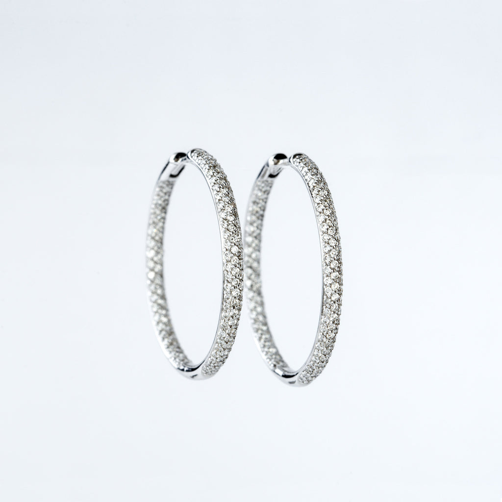 White Gold and Diamond Pavé Hoop Earrings