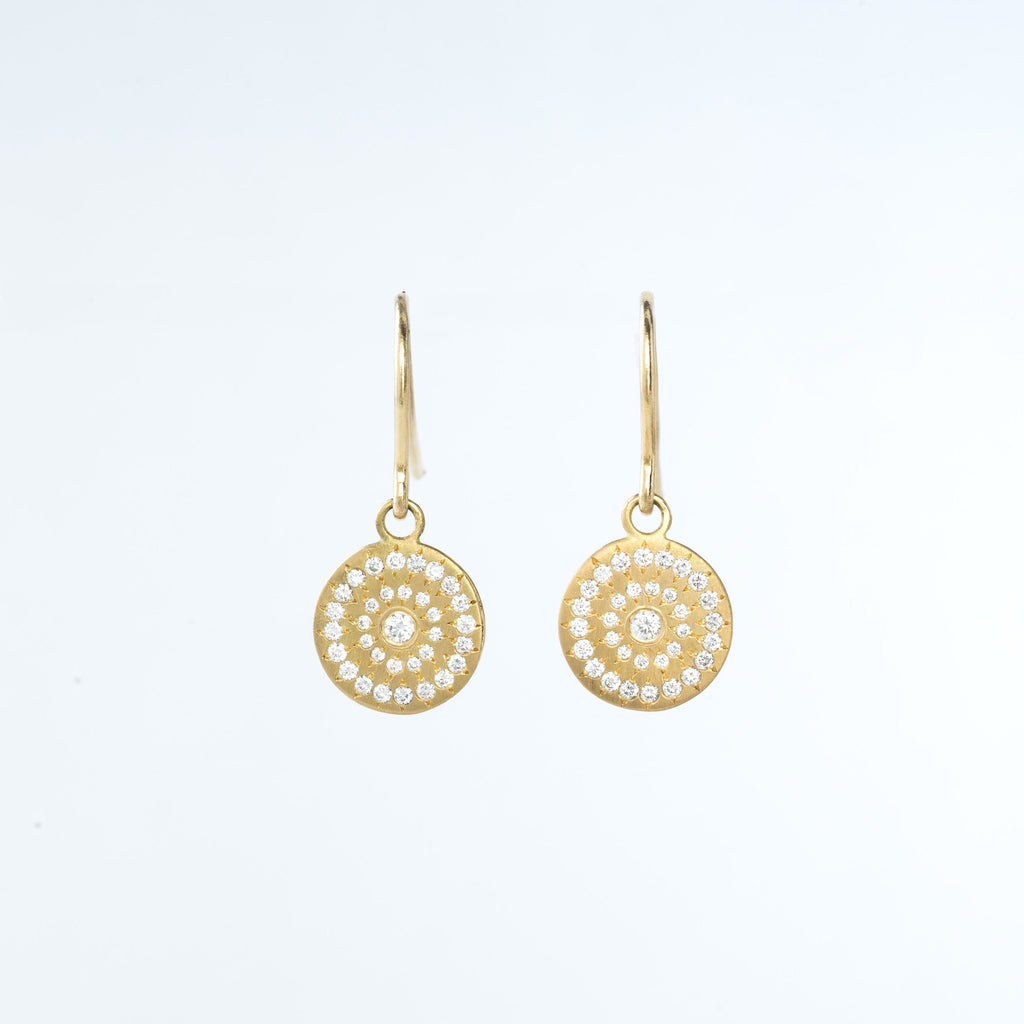 Yellow Gold and Diamond Circle Drop Earrings