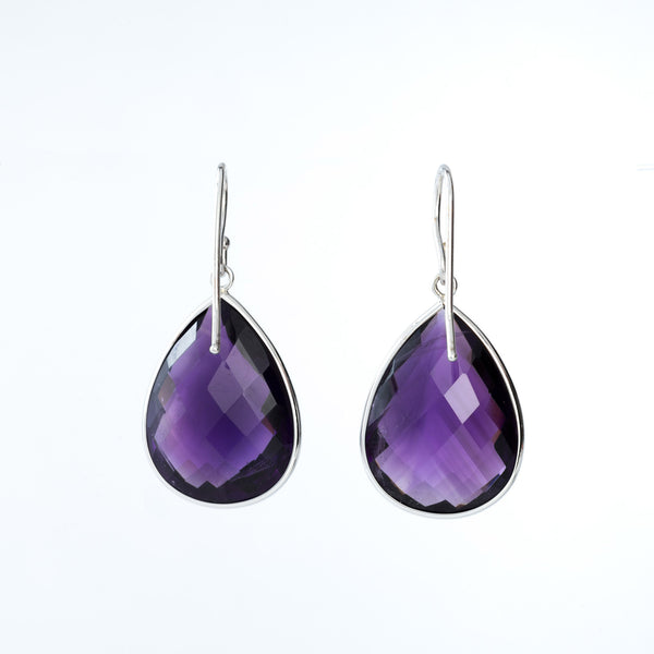 Amethyst and White Gold Teardrop Earrings