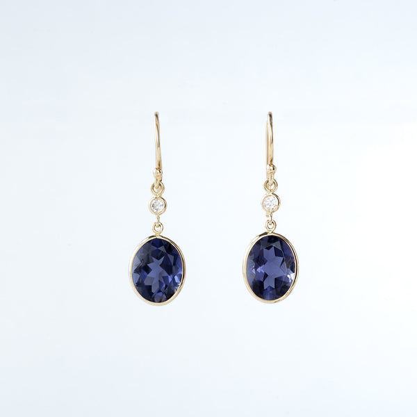 Iolite and Diamond Yellow Gold Drop Earrings
