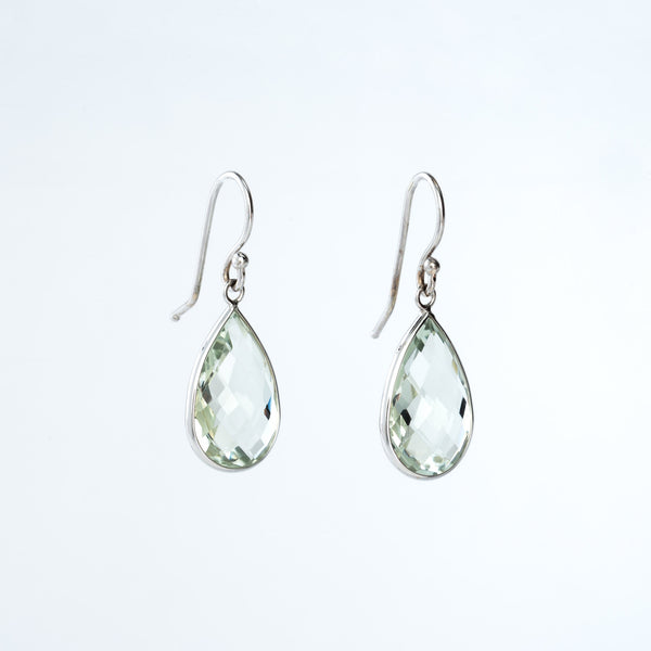 Green Amethyst and White Gold Teardrop Earrings
