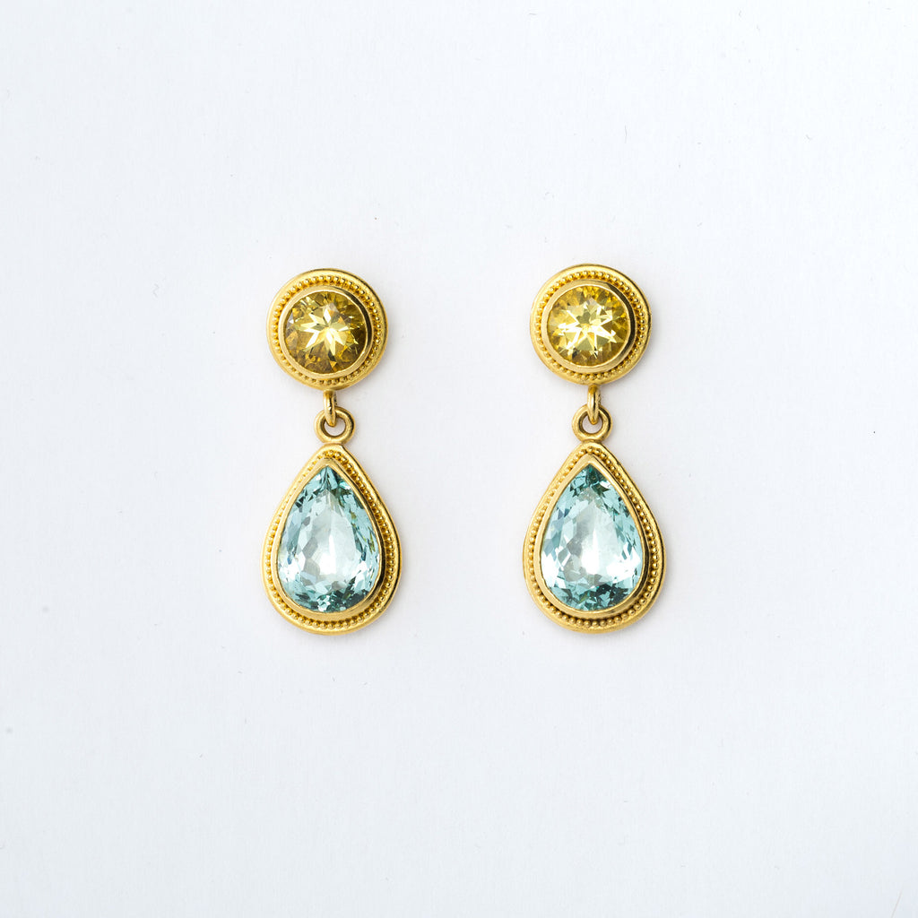 22k Yellow Gold Aquamarine and Yellow Beryl Earrings