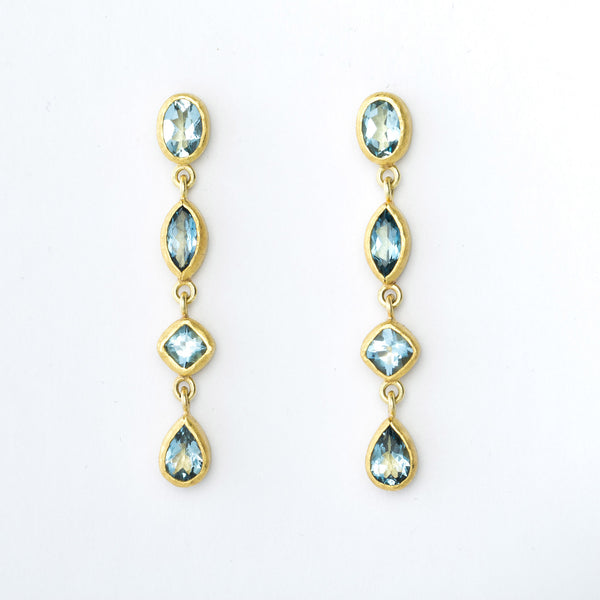 Aquamarine and 22 Karat Yellow Gold Dangle Earrings