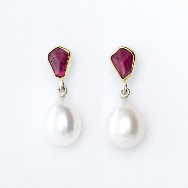 Red Tourmaline and Pearl Earrings