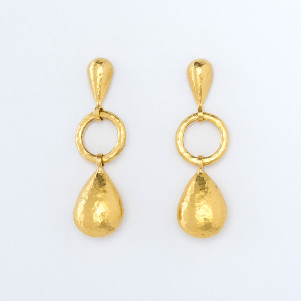 24 Karat Yellow Gold Teardrop Earrings