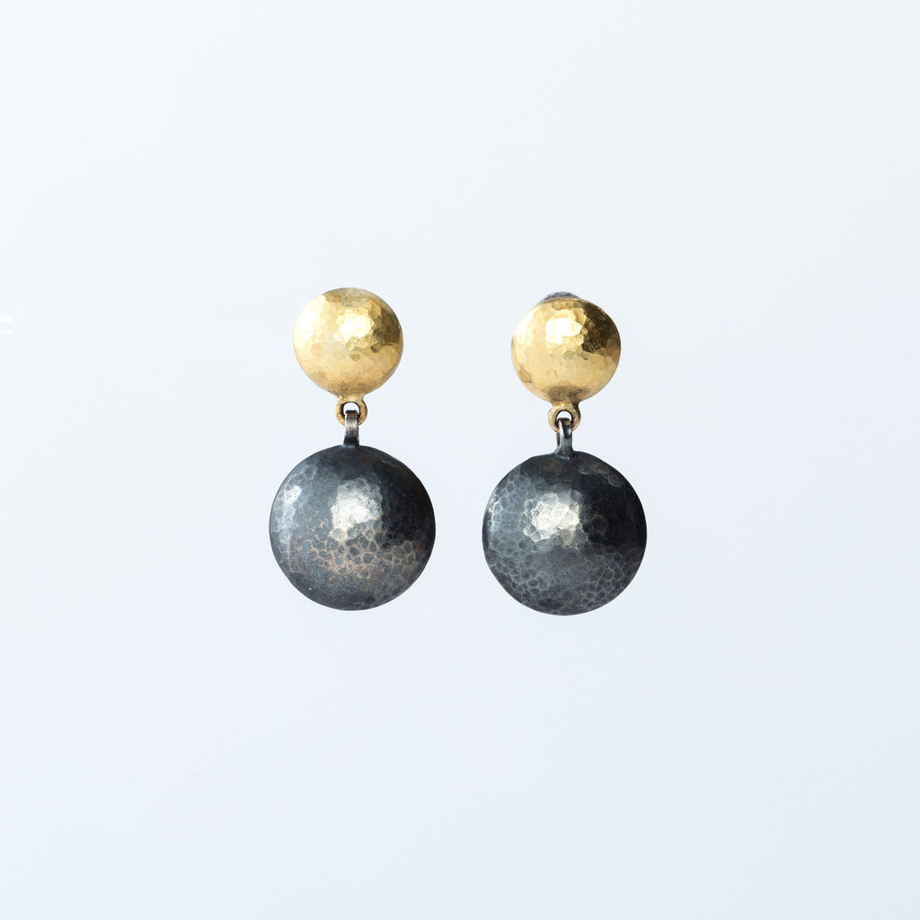 Oxidized Sterling Silver and 24 Karat Yellow Gold Earrings