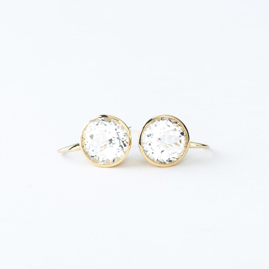 Yellow Gold and White Quartz Drop Earrings