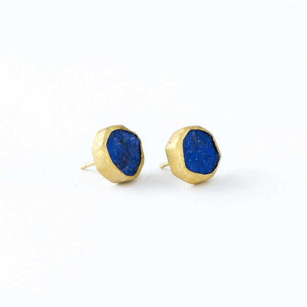 22 Karat Yellow Gold and Lapis Stud Earrings