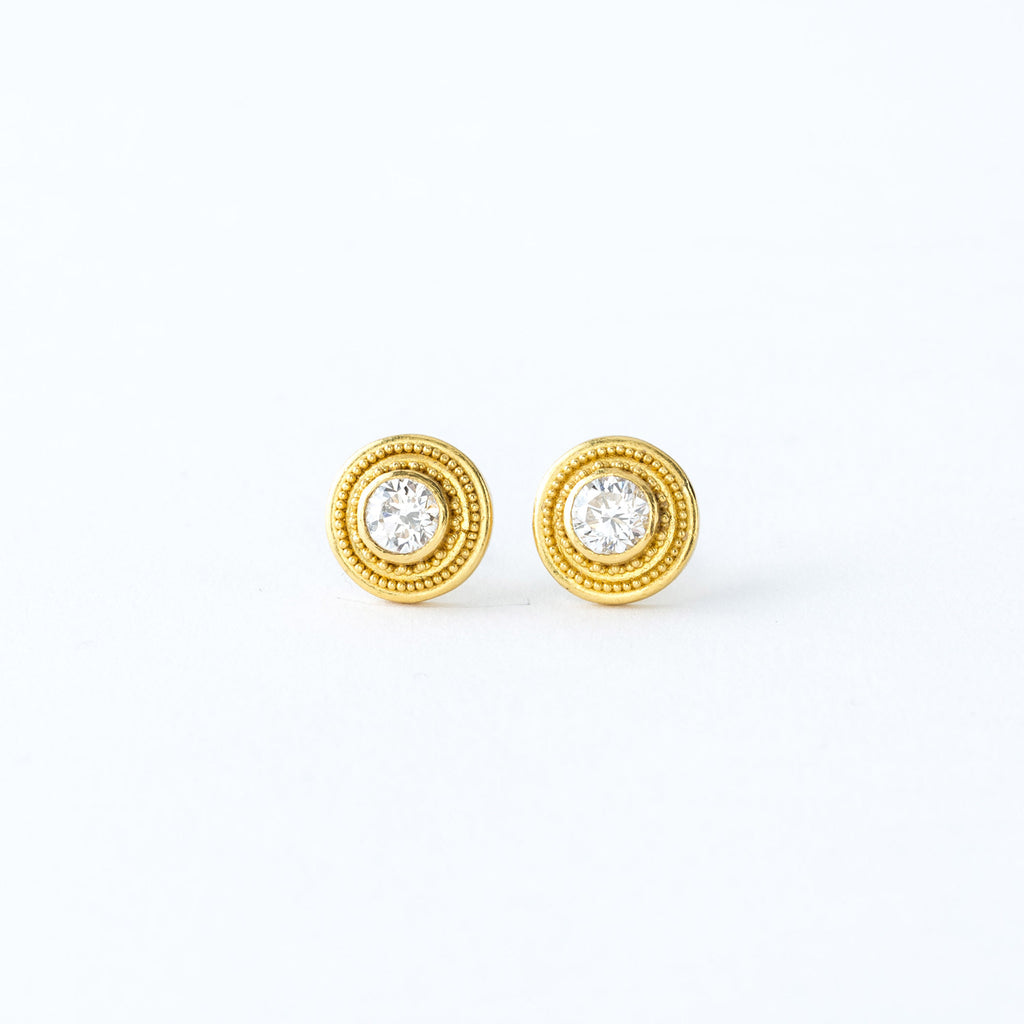 22 Karat Yellow Gold and Diamond Stud Earrings