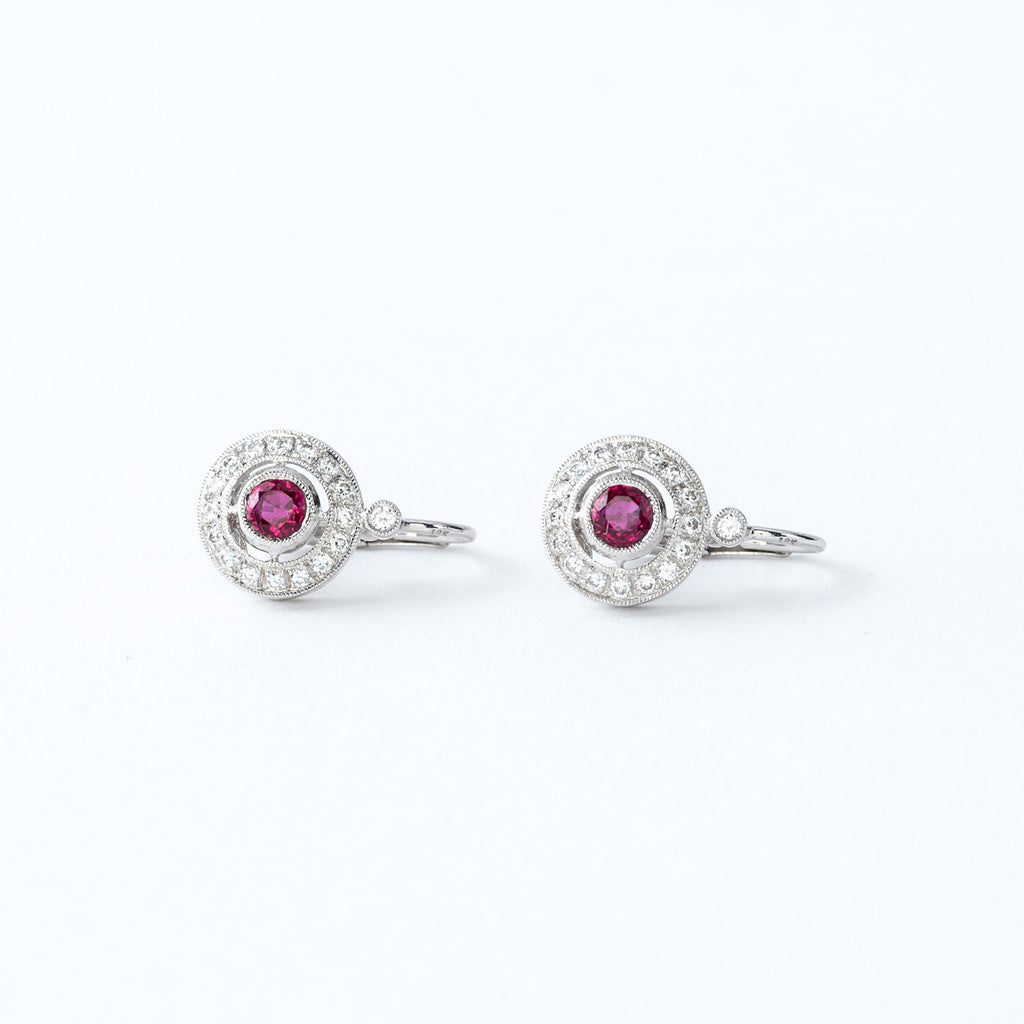 Ruby and Diamond White Gold Earrings