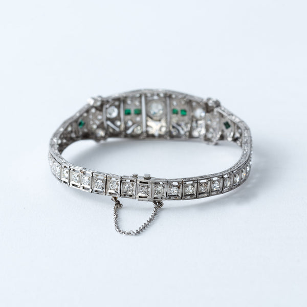 Estate Diamond and Emerald Bracelet
