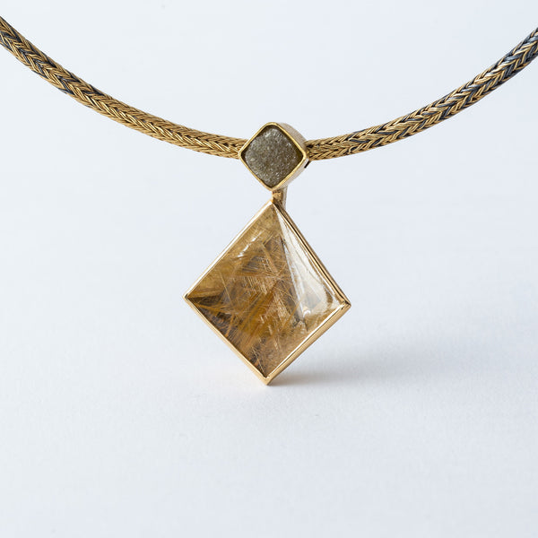 Rutilated Quartz and Raw Diamond Necklace