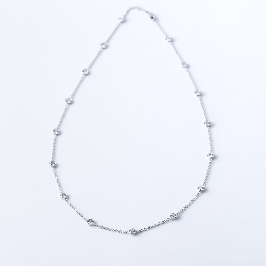 White Gold and Diamond By the Yard Necklace