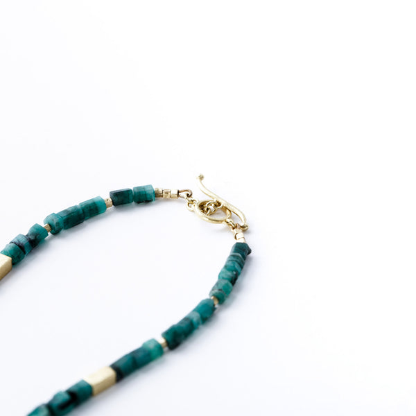 Raw Emerald and Yellow Gold Necklace