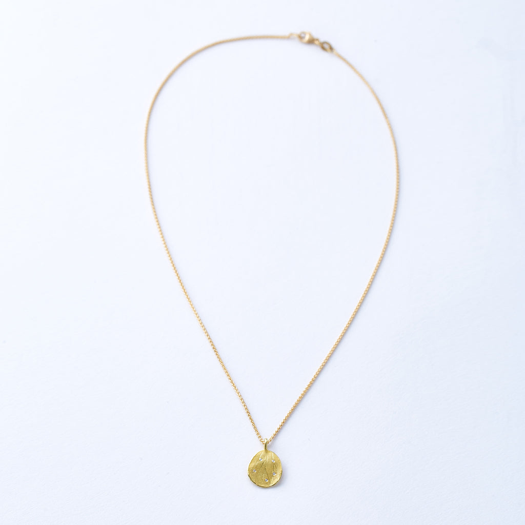 Yellow Gold and Scattered Diamond Hydrangea Petal Necklace