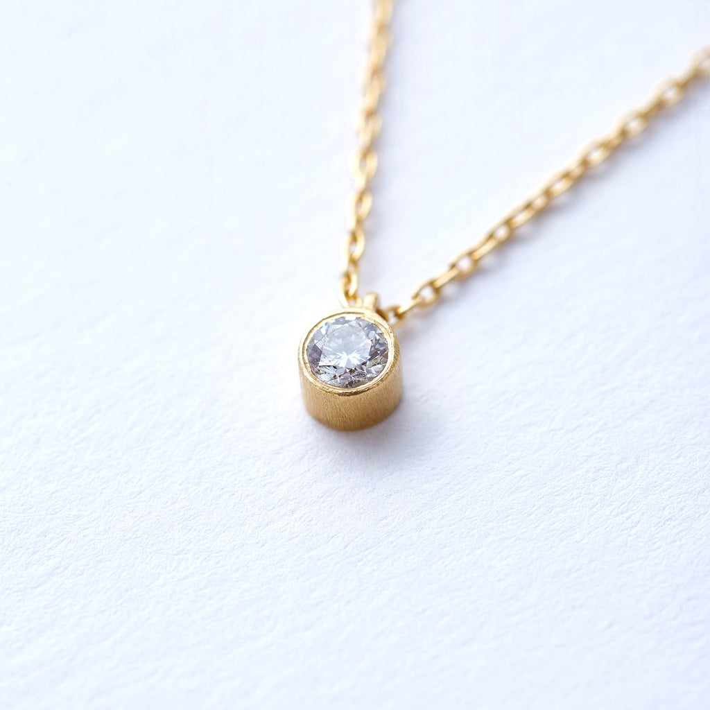 Yellow Gold Single Bezel Set Diamond Pendant
