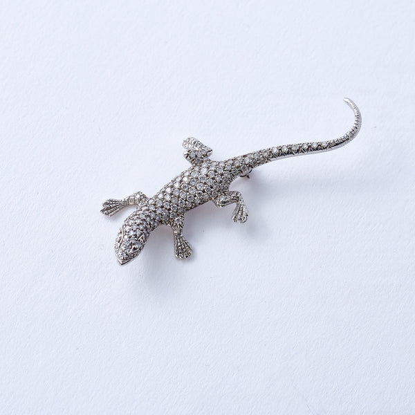 Diamond and White Gold Lizard Pin