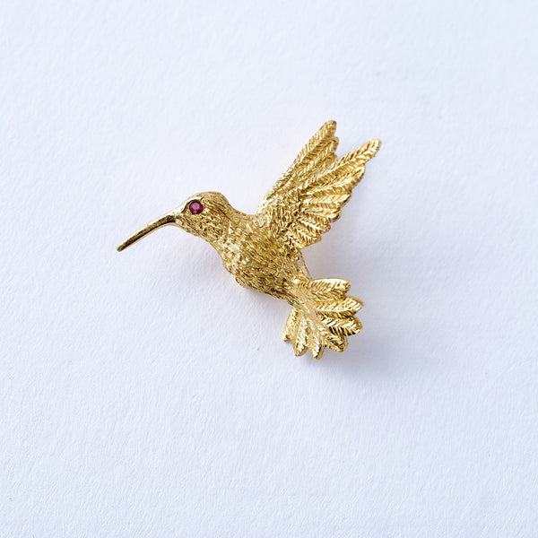 Gold and Ruby Hummingbird Pin