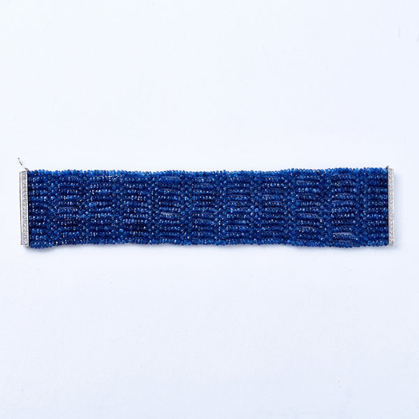 Beaded Sapphire Bracelet with White Gold and Diamond Clasp