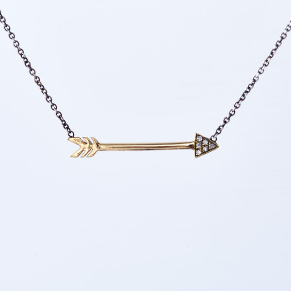 Yellow Gold and Diamond Arrow Necklace with Silver Chain