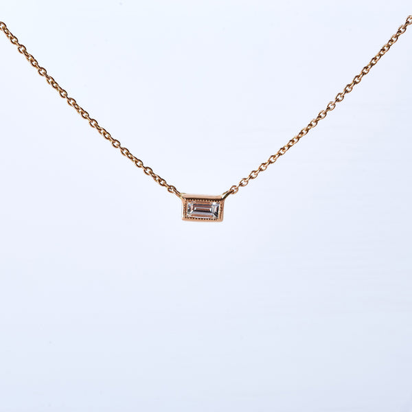 Rose Gold Diamond Baguette Necklace
