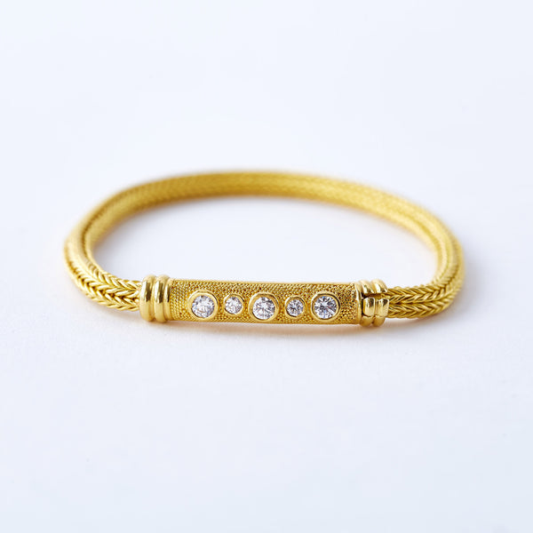 22 Karat Yellow Gold Woven Diamond Bracelet