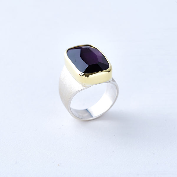 Amethyst Ring with Yellow Gold Bezel