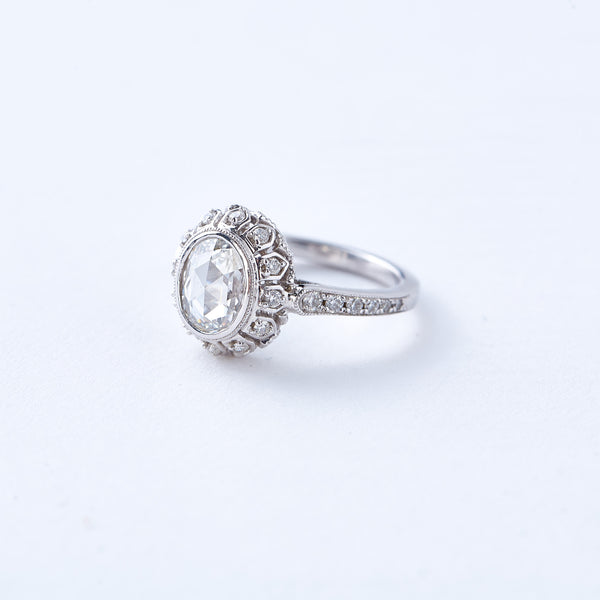 White Gold and Rose Cut Diamond Ring