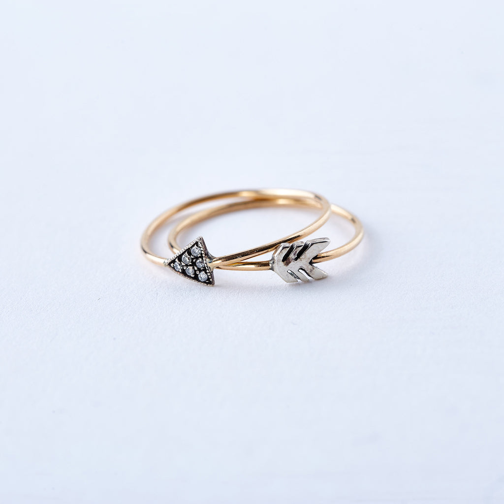Yellow Gold, Sterling Silver, and Diamond Arrow Rings