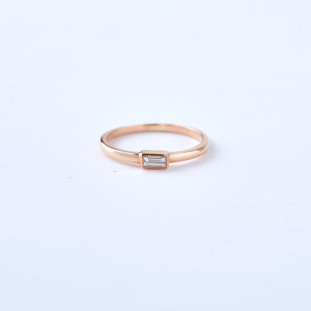 Rose Gold Diamond Baguette Ring