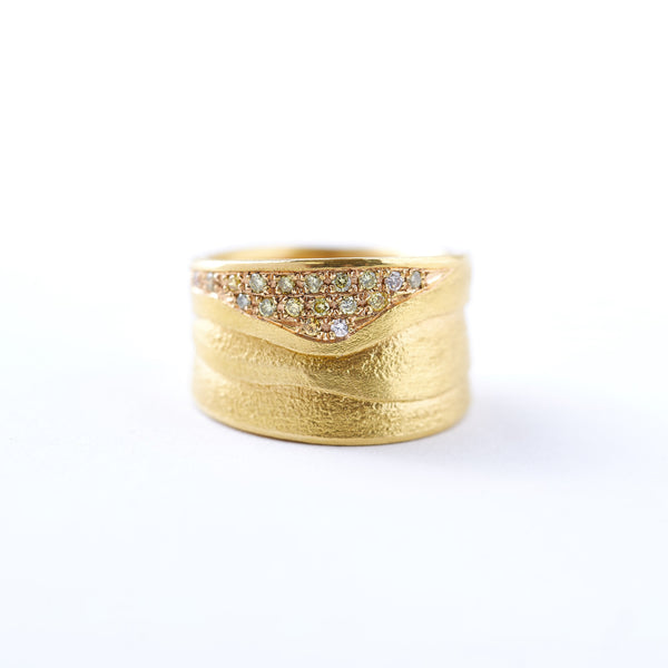 Wide Yellow Gold and Diamond Band