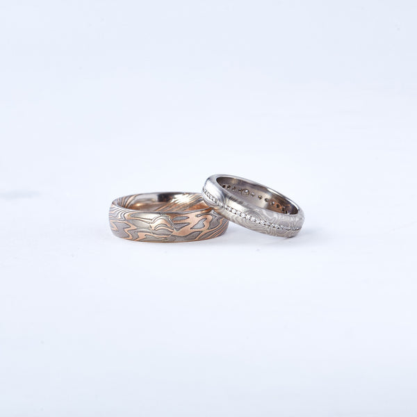 Mokume Wedding Band with Diamonds