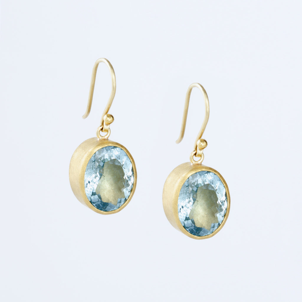 Aquamarine and 22k Yellow Gold Earrings