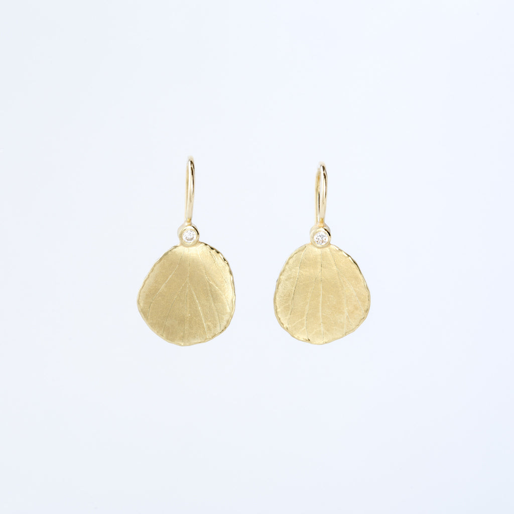Gold and Diamond Hydrangea Petal Earrings