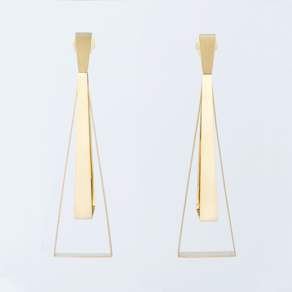 18 Karat Yellow Gold Trapezio Earrings