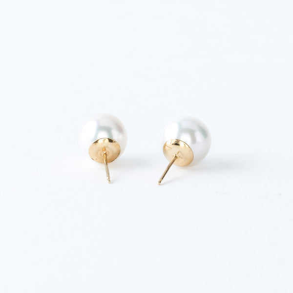 White Saltwater Pearl and Yellow Gold Stud Earrings