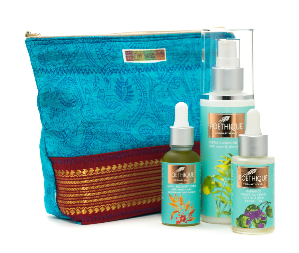 Nyrvaana cosmetic bags meet Poethique skincare!