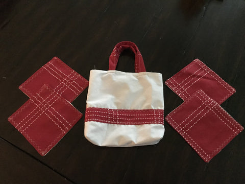 Holiday Red Coaster Set with bag