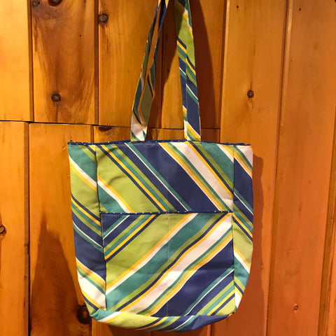Blue Green Stripes Shopping Bag