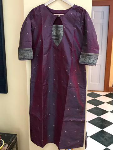Heirloom Series - Kanchi Silk Maroon Long Kurta