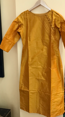Heirloom Series - Mustard Kanchi Silk Kurta