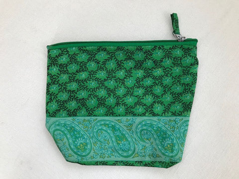 Cosmetic Bag - Green Printed Silk