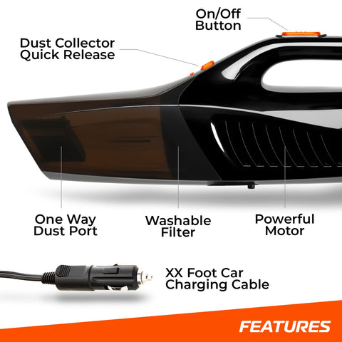 "SwiftJet Car Vacuum Cleaner - High Powered 5 KPA Suction Handheld Automotive Vacuum - 12V DC 120 Watt - 14.5"" Cord"