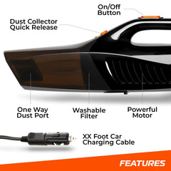 SwiftJet Car Vacuum Cleaner - High Powered 5 KPA Suction Handheld Automotive Vacuum - 12V DC 120 Watt - 14.5